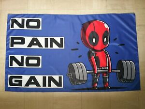 Gym Poster Flag Banner Deadpool Weight Lifting Body Building Fitness Sign Art