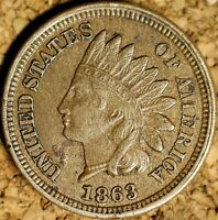 1863 Indian Head Cent - AU SNOW-1, RAW REPUNCHED DATE 18/18 (K585)