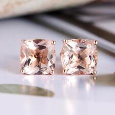 1ct Cushion Cut Champagne Morganite Royal Stud Earring Women 14k Solid Rose Gold