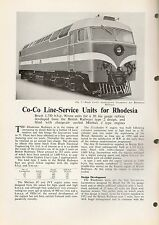 Rhodesia Railways coco line service units (Brush) promotional booklet