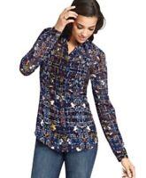 CAbi Womens Chiffon Semi Sheer Button Up Front Shirt Festival Geometric Sz Small