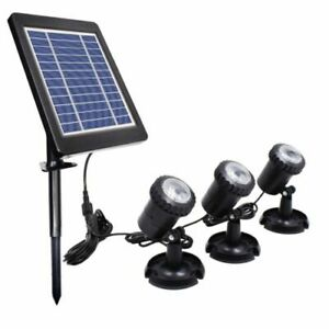 solar fish pond lights x 3 with panel and battery
