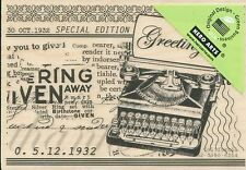 Greetings Typewriter  H5715  HERO ARTS RUBBER STAMPS  w/m  Free Shipping  NEW