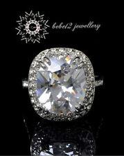 Simulated Diamond/Cushion Cut Ring/Crystal/Large Stone/Wedding/Bridal/RGR028S