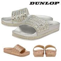 Dunlop Ladies Womens Slip On Sliders Sandals Summer Flip Flop Shoes Sizes 3-8