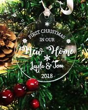 Personalised First Christmas In Our New Home Christmas Tree Bauble Decoration