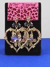 Betsey Johnson Goldtone Lovebirds Crystal Accent Heart Gypsy Hoop Drop Earrings