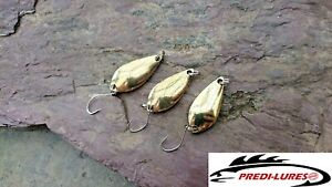 3 X 5g GOLD Mini Spoon style metal spinners single hook Trout Perch Chub Lure