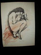 """Vintage Josef M. Kozak Original & Moving Artwork """"Woman"""" DRAWING Signed Unframed"""