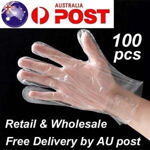 100pcs Disposable Plastic Gloves Transparent Food Handling Hygienic Clear Bulk