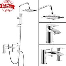 3 Vie Doccia Quadrato Rigido Riser Kit con miscelatore doccia bagno rubinetto bacino Tap & Set