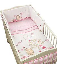Forever Friends Pink Girls 5 Piece Cot Bed Bumper, Quilt, Blanket, Bedding Set