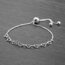 Genuine 925 Sterling Silver Adjustable Heart Link Slider Bracelet on Box Chain