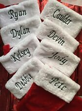 "CHRISTMAS STOCKINGS MONOGRAMMED  NAMES SANTA SOCKS PLUSH RED GREEN 18"" LONG NEW"