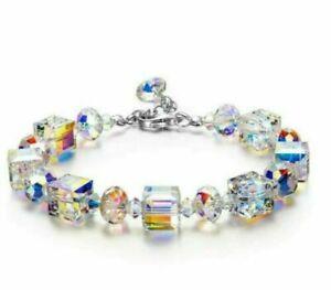 "Beautiful Aurora Austria Crystals Bracelet 925 Silver Adjustable 7""-9"""
