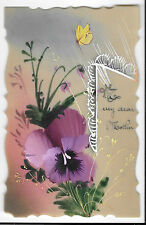 Handpainted Pansy & Butterfly on Celluloid, Unposted PPC, To my Dear Mother