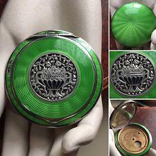 Art Deco Austria Sterling Silver Enamel Green Cloisonne Guilloche Compact Case