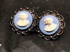 pair of victorian era wedgwood blue jasperware filigree silver screw earrings