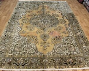 OVERDYED PERSIAN TABRIZ CARPET IN GREAT CONDITION VERY HARD WEARING 10.4 X 7.FT