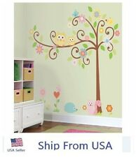Owl Scroll Tree Wall Stickers Kids Nursery Room Removable Stick Wall Decals #c