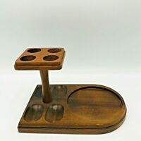 Vintage Decatur Walnut Wood 4 Tobacco Pipe Holder Rack & Jar Holder