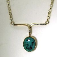 Victorian Upcycle Large Matrix Turquoise 9ct Yellow Gold Necklace