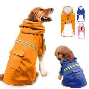 Cute Pet Dog Reflective Strips Raincoat Waterproof Jacket Puppy Hoodie Rainwear