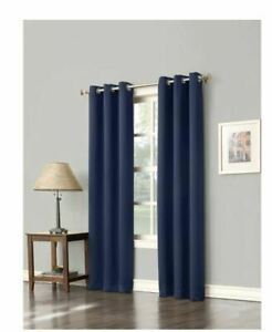 Sun Zero Navy Woven Thermal Blackout Curtain  40 in W x 63 in L ( Single Panel)