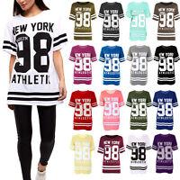 Ladies Newyork 98 Brooklyn Top Womens Varsity Basball Short Sleeve T-Shirt Tops