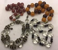 Four Art Deco Glass Bead Necklaces