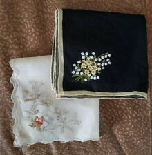 Vintage embroidered Handkerchiefs lot of two - floral design