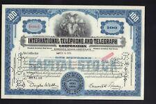 ITT International Telephone & Telegraph Corporation  100 sh blue color 1950s