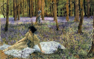 Oil painting sir lawrence alma tadema - bluebells beauty in spring forest scene