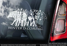 Direwolves Car Window Sticker - 'WINTER IS COMING' - House Stark Game of Thrones
