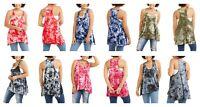 Women's Size 2X Tie Dye Sleeveless Fun Beach Casual Shirt Tank Top