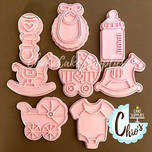 Baby Shower Themed Cookie Cutters With Embosser Stamp