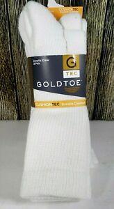 NEW Gold Toe Men's Crew Socks 3 Pairs White Cushion Tec Acrylic Size 10-13 Sock