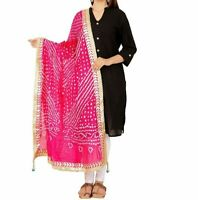 Dupatta Women Bandhani Art Silk Bandhej Indian Scarf Rajasthani Party Wear Stole