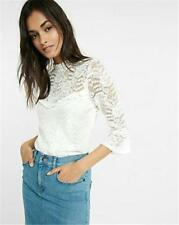 EXPRESS Small IVORY LACE MOCK NECK BELL SLEEVE BLOUSE shirt top (S 4-6)