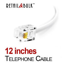 1 Foot Short Telephone Cable RJ11 (6P4C) 12 Inch Phone Line Cord, White