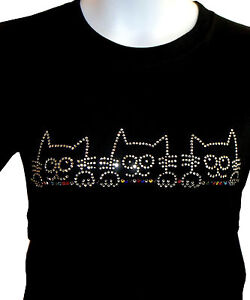Cat Rhinestone Shirt, Kitty Cat Bling, Funny Cats Looking, Small - 5X