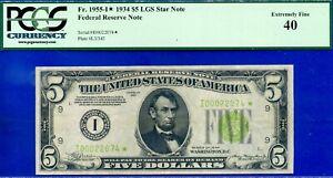 TOP POP FR-1955-I* - 1934 $5 FRN (( Finest Known - LGS STAR )) PCGS 40 # 22074*-