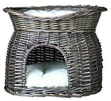 Trixie Panier osier Gris avec lit au dessus pour Chat