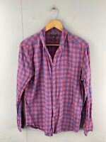 Witchery Men's Long Sleeve Button Up Relaxed Shirt Size M Red Blue Check