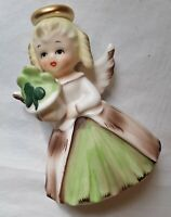 Vtg Napco Angel Figurine  Lucky Clover Bouquet Gold Halo March