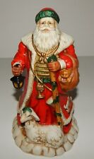 Porcelain Holiday Santa with Lamb Lantern D045 8911 J C Penny Christmas Statue