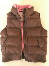 Girls Gap Kids pink and brown sleeveless puffa jacket, 8-9 years