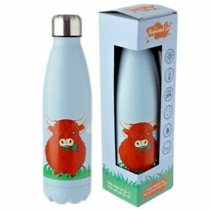 Highland Coo Cow Stainless Steel Insulated Hot Cold Drinks Bottle 500ml