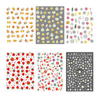 3D Nail Stickers Orange Strawberry Self-adhesive Nail Art Transfer Decals Design