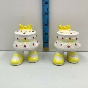 Enesco Japan Feet with Skirt Salt and Pepper Shakers Gift white yellow bow